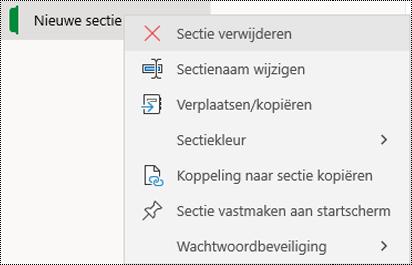 Schermafbeelding van het snelmenu voor het verwijderen van een sectietabblad in OneNote voor Windows 10.