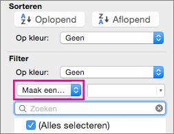 Selecteer Maak een keuze in het vak Filter
