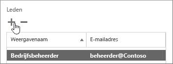 Toont het dialoogvenster Gebruiker van Servicecontrole, met het pictogram voor toevoegen gemarkeerd onder de sectie Leden.