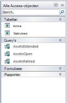 Navigatiedeelvenster met de groep Alle Access-objecten in de categorie Objecttype