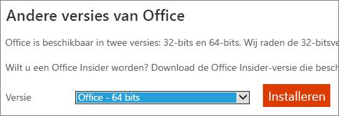 Schermafbeelding van vervolgkeuzelijst voor het selecteren van de optie voor het installeren van Office - 64-bits