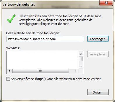 Het dialoog venster Vertrouwde websites