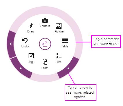 Klik op opdrachten of pijlen om het radiale menu te gebruiken
