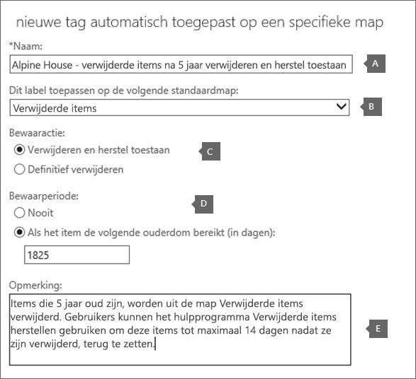 Instellingen voor het maken van een nieuw label voor bewaarbeleid voor de map Verwijderde items