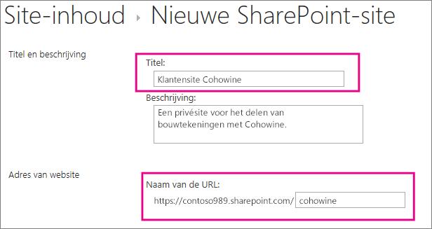 Typ in het vak Titel een naam voor de subsite, voer in het vak URL de klantnaam in om deze toe te voegen aan de URL voor de site.