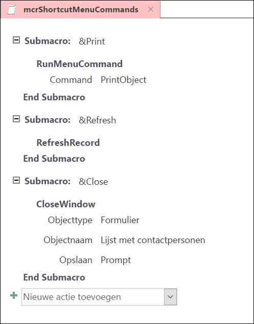 Schermafbeelding van Access macro ontwerpvenster met drie submacro voor instructies.