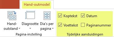 Schakel een selectievakje, zoals Koptekst, uit om de functie uit uw hand-outs te verwijderen.