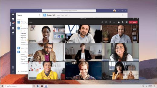 Vergaderingsvenster met 9 verschillende videostromen tegelijk