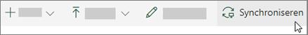 De werkbalk van SharePoint Online met de optie synchroniseren geselecteerd