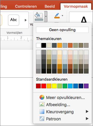 Schermafbeelding van de opties die beschikbaar zijn in het menu Opvulling van vorm, zoals Geen opvulling, Themakleuren, Standaardkleuren, Meer opvulkleuren, Afbeelding, Kleurovergang en Patroon.