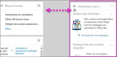 Actie waarbij een widget in het beveiligings- en compliancecentrum naar links wordt verplaatst via de optie Aanpassen op de startpagina