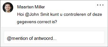 Een contactpersoon wordt vermeld in een opmerking