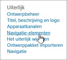 Navigatie-elementen in het menu Site-instellingen