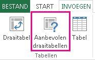 Aanbevolen draaitabellen op het tabblad Invoegen in Excel