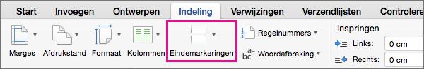 Klik op Eindemarkeringen om een type pagina-einde te selecteren om in te voegen op de huidige cursorpositie.