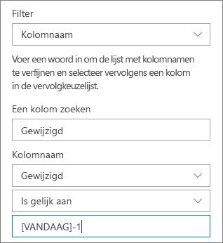 Filter voor een documentbibliotheek met de naam van de kolom