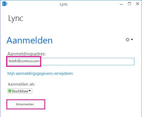 Sectie van Lync-aanmeldingsscherm met aanmeldingsgegevens gemarkeerd