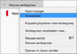 Sectiegroep verwijderen in OneNote voor Mac