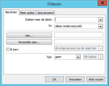 Kies Filter als u alleen bepaalde e-mailberichten wilt importeren.