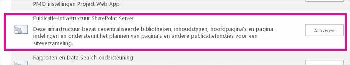 De functie Publicatie-infrastructuur activeren