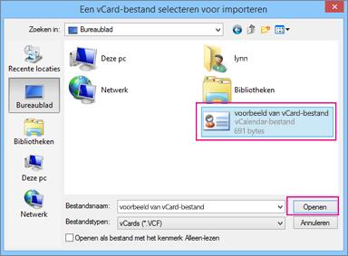 Kies het vCard-bestand dat u wilt importeren naar een .csv-bestand.