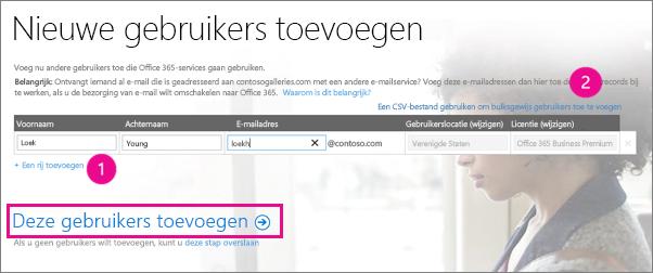 Gebruikers toevoegen aan uw Office 365-tenant