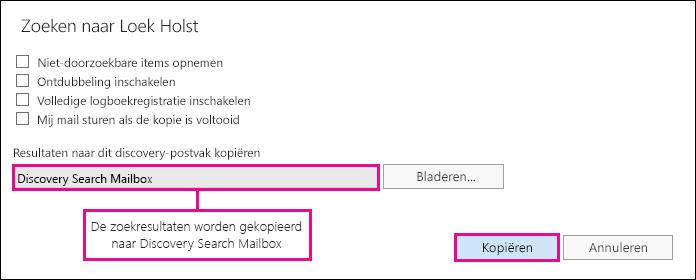 Klik op Kopiëren om de zoekresultaten te kopiëren naar de Discovery Search Mailbox