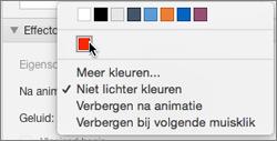 Opties voor Na animatie in het venster Eigenschappen van animaties