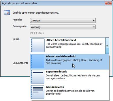 Lijst Details in het dialoogvenster Agenda per e-mail verzenden