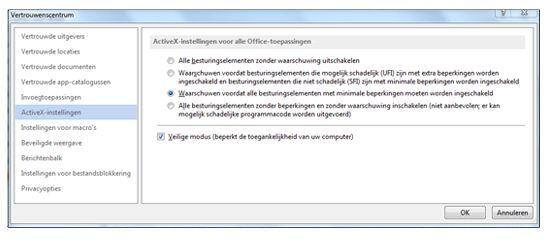 Gebied ActiveX-instellingen van het Vertrouwenscentrum