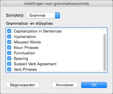 Selecteer in Instellingen voor grammaticacontrole de categorieën met problemen waarop in Word wordt gecontroleerd.