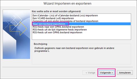 Kies Exporteren naar een bestand.
