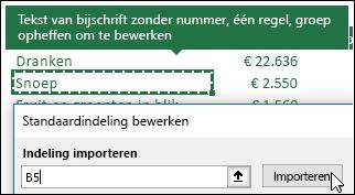 Instellingen van een bestaande draaitabel importeren door een draaitabel te selecteren en op Importeren te klikken