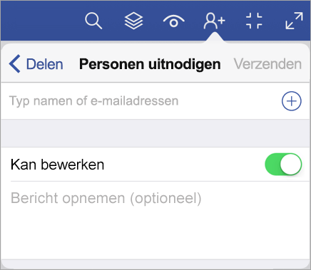 Typ namen of e-mailadressen en nodig anderen uit om uw diagram in Visio Viewer voor iPad te bekijken.