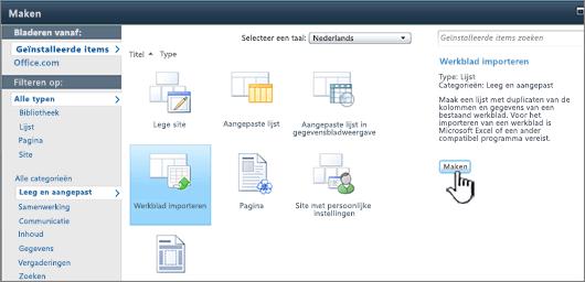 Dialoogvenster Maken met Spreadsheet importeren, met Maken aangewezen