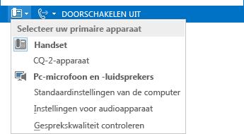 Schermafbeelding van het menu Selecteer uw primaire apparaat
