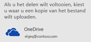 Als u de presentatie nog niet hebt opgeslagen in OneDrive of SharePoint, wordt u in PowerPoint gevraagd om dit nu te doen.