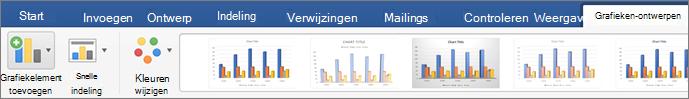Klik op het tabblad Grafiekontwerp en klik vervolgens op Grafiekonderdeel toevoegen