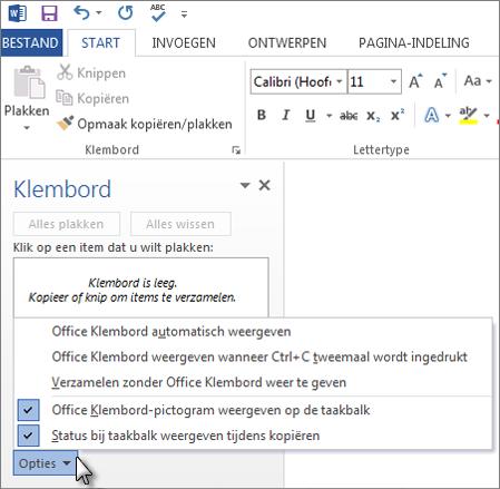 Acties die u in het taakvenster Klembord van Office kunt uitvoeren