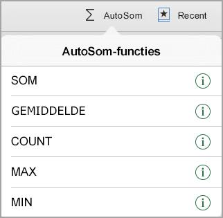 Menu AutoSom-functies