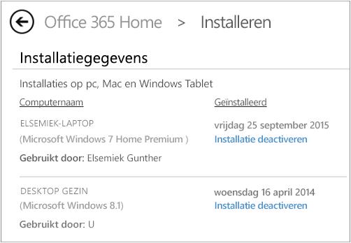 De installatiepagina met de computernaam en de naam van de persoon die Office heeft geïnstalleerd.