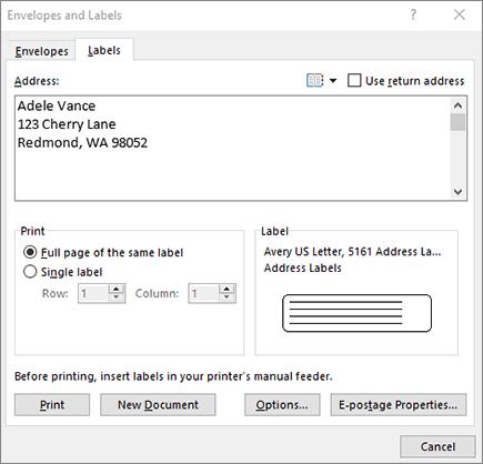 Dialoogvenster Envelop en etiketten - etiketten