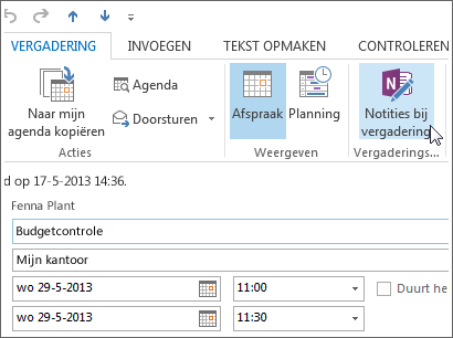 Notities maken in een Outlook-vergadering