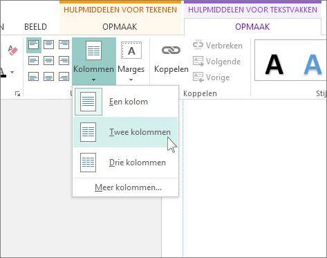 Schermafbeelding van Hulpmiddelen voor tekstvakken Kolommen in Publisher.