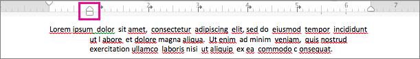 Selecteer het bovenste gedeelte van de pijl en sleep deze naar de gewenste inspringing