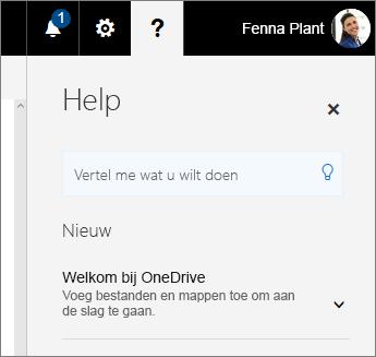 Deelvenster Help in OneDrive voor Bedrijven