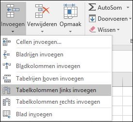 Als u wilt een tabelkolom toevoegen vanuit het tabblad Start, klik op de pijl voor invoegen > Tabelkolommen links invoegen.