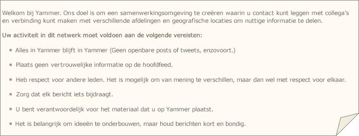 Voorbeeld van Yammer-beleid