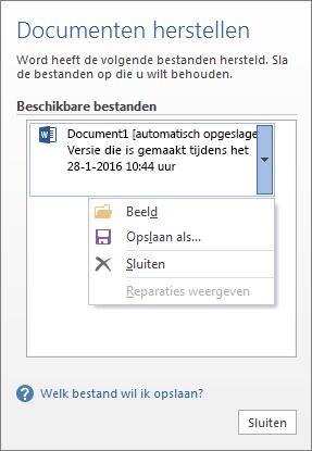 Het venster Documenten herstellen