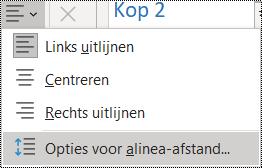 Schermafbeelding van de optie Alinea-afstand in het menu Start.